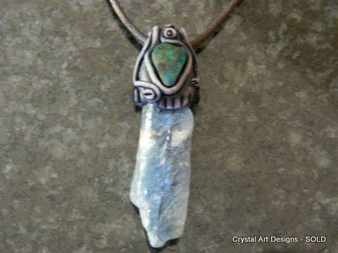 Blue Kyanite pendant with Chrysocolla