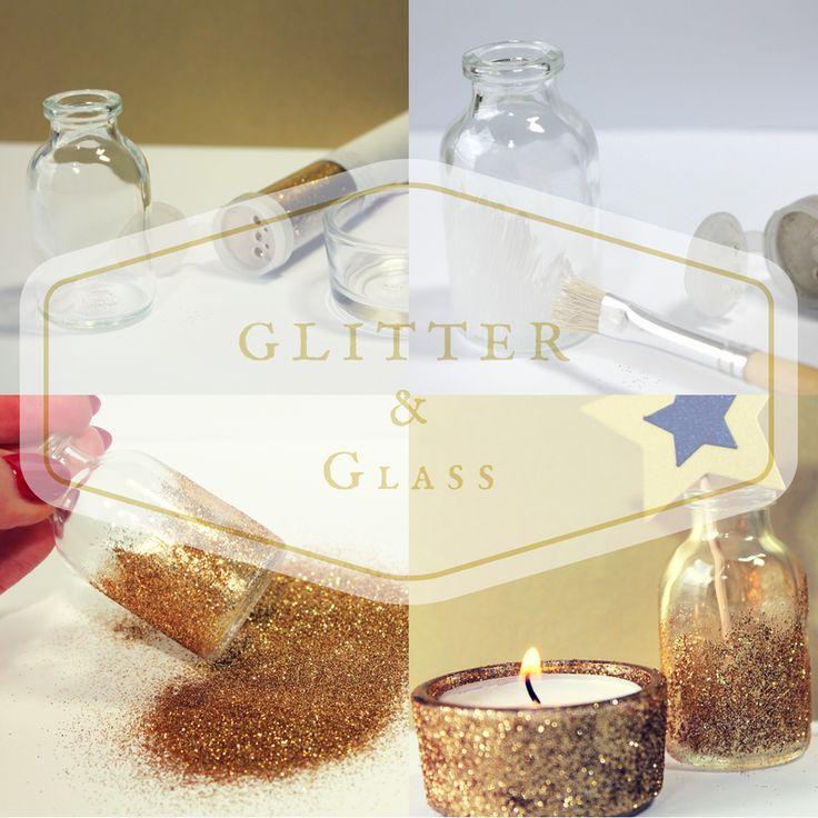 Jak ozdobić szklany świecznik, butelke, fiolkę brokatem? Wybierzsama złoty, srebrny, różowy niebieski. Krok po kroku. Sylwester. Karnawał. Glitter and glass