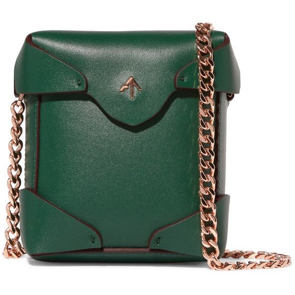 Manu Atelier Pristine micro leather shoulder bag (£315) ❤ liked on Polyvore featuring bags, handbags, shoulder bags, emerald, green shoulder bag, shoulder bag purse, green handbags, polka dot purse and leather shoulder handbags