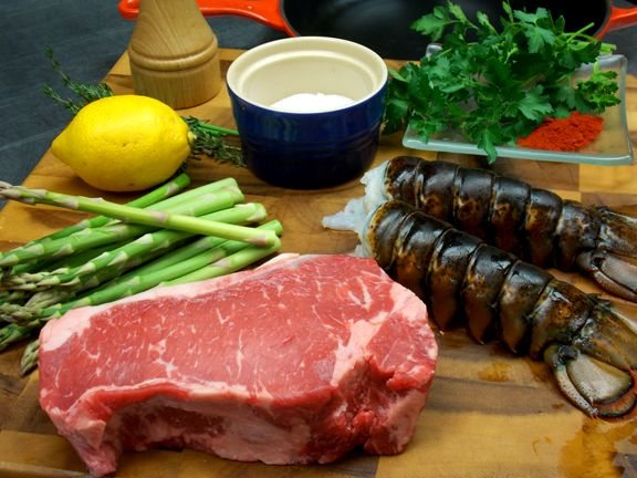 Ingredients for homemade surf and turf