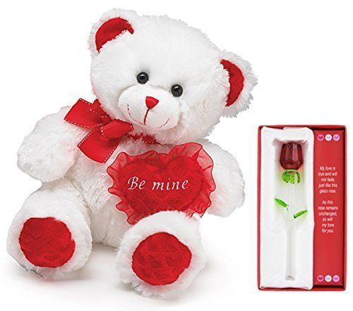 Valentines Day Bear And Glass Rose 2 Piece Gift Set Stuffed Animal Soft New #CombinedBrands