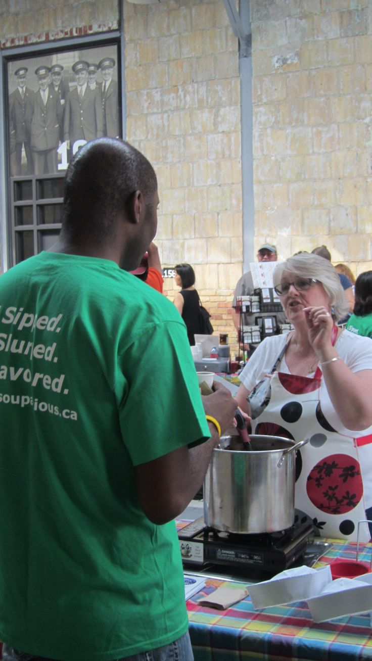 Pastor Judith Alltree and Desmond Rowley from Houselink Community Homes discussing the finer points of making soup.