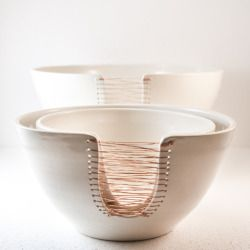 ceramic nesting bowls threaded with copper wire