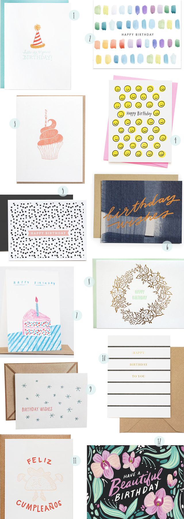 Stationery A–Z: Birthday Cards! // 1. Paper Lovely 2. Dear Hancock 3. Dahlia Press 4. Ashkahn 5. The Paper Cub 6. Moglea 7. Yellow Owl Workshop 8. Parrott Design Studio 9. Ink Meets Paper 10. Sugar Paper 11. Iron Curtain Press 12. Idlewild Co. // Links on OSBP!