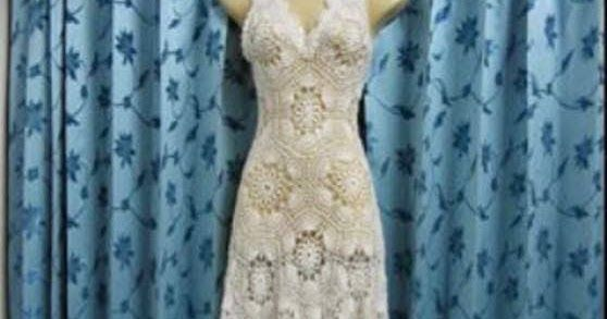 Wedding dress made of crochet yarn step by step