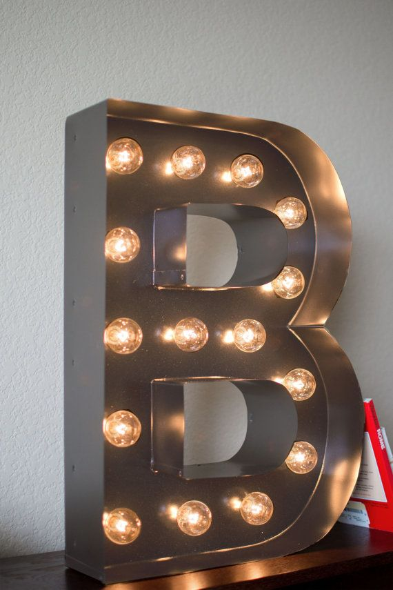 Vintage inspired marquee light letter b by saddleshoesigns for Metal marquee letters hobby lobby