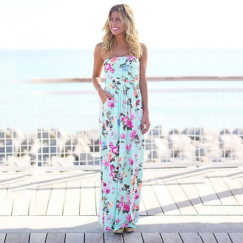 Women's Daily Going out Street chic Sheath Dress,Floral Strapless Maxi Sleeveless Polyester Spandex Summer High Rise Micro-elastic Thin 2018 - $17.82