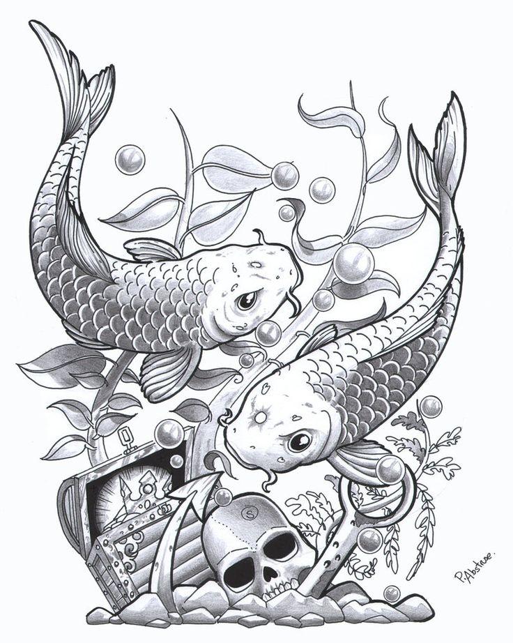 Pencil Drawings of Fish   Coy fish