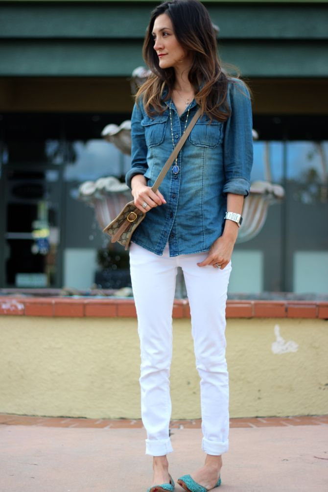 i need white jeans for the summer - i live in the rest of this outfit all the time!