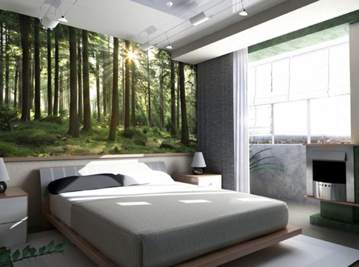 The bedroom with nature 3D wallpaper and lighting like sunlight . Perfect for the basement