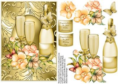 Congratulations champagne Golden Anniversary Wedding Day  on Craftsuprint designed by Julie Hutchings - Beautiful card front/topper with champagne and glasses and flora with decoupage and choice of sentiment tags On Your Golden Anniversary, On Your Wedding Day  - Now available for download!
