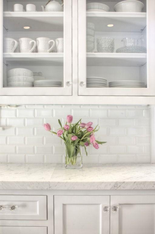 It's my holy kitchen trinity: white cabinets, white marble, white subway tile! Allison Harper Interior Design - Interiors