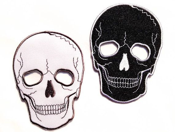 Skull Patch / Black or White Skull / Ironon Badge / by Tattooit, $3.50 Would be good to get 2 to iron on elbows of stretch/jersey shirt, like picture pinned to fashion board. Site is out of stock currently.