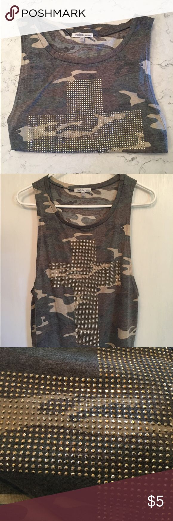 Charlotte Russe tank top Camouflage tank top with gems in the shape of a cross. Worn once, very good condition. Charlotte Russe Tops Tank Tops