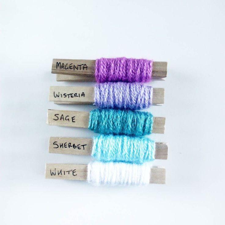 Yarn is Stylecraft Special DK in White Sherbet Sage Wisteria and Magenta.