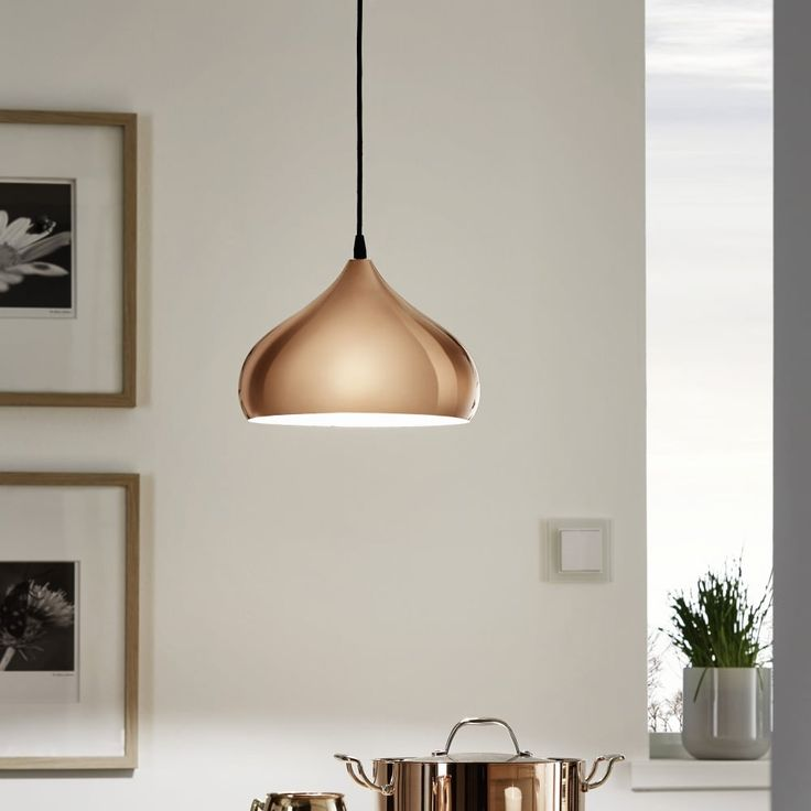 Eglo Hapton Polished Copper Pendant Light - Kitchen Lighting from Dusk Lighting UK