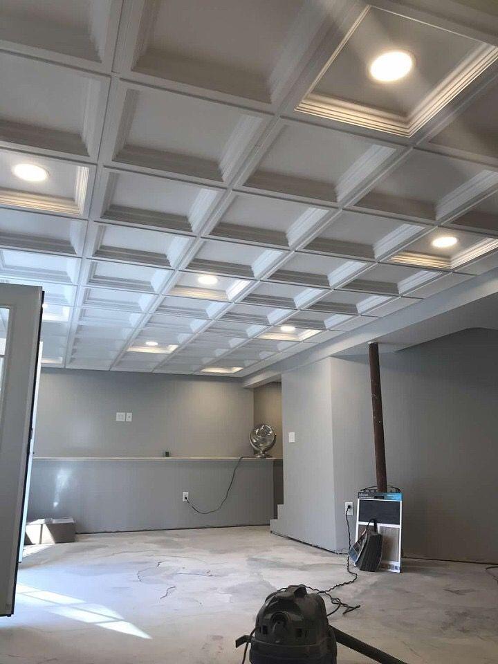 Faux Coffered Drop Ceiling Plywoodbasementceiling Dropped Ceiling Drop Ceiling Basement Ceiling Tiles Basement