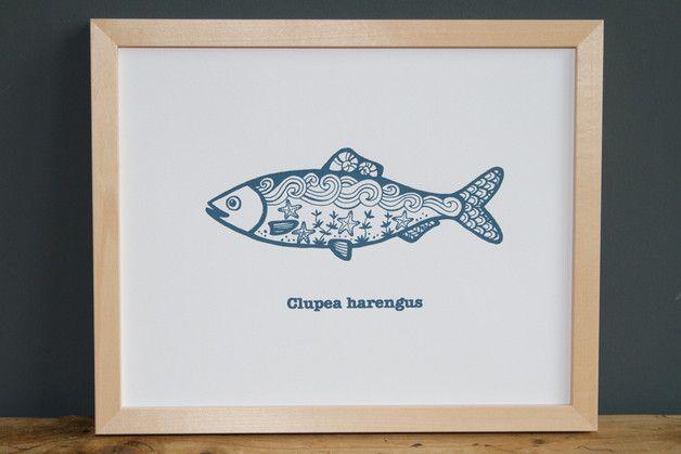 """""""Clupea harengus"""" ist ein von Hand gefertigter Siebdruck nach eigenem Motiv auf fein strukturiertem Aquarellpapier. www.blaurotgrau.blogspot.de"""