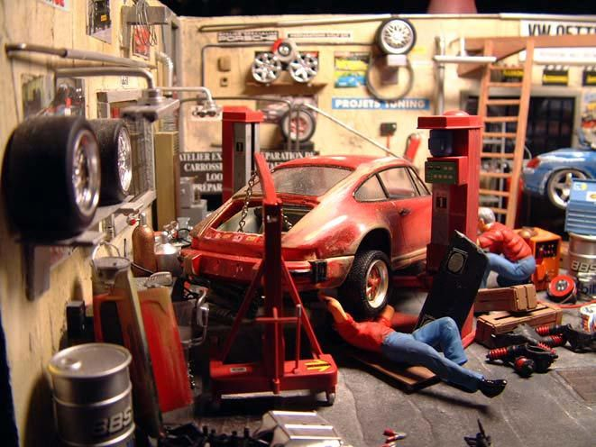 auto garage diorama 1 18 kaufen verkauf auto garage diorama modellauto online. Black Bedroom Furniture Sets. Home Design Ideas