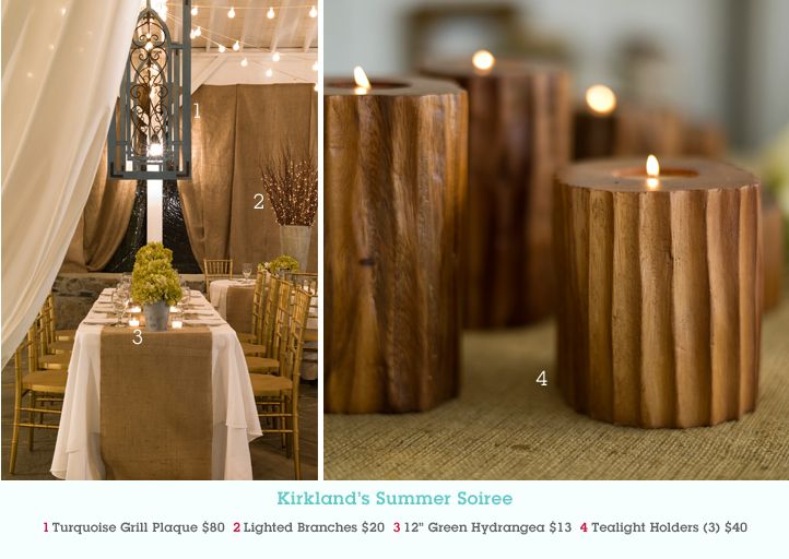 Pin this image at MyKirklands.com for a chance to win a weekly prize pack! Event Space: cedarwoodweddings.com: Events Spaces, Outdoor Dinner Parties, Candles Holders, Outdoor Dinners Parties, Outdoor Parties, Lights Branches, Cedarwood Style, Outdoor Events, Burlap Runners
