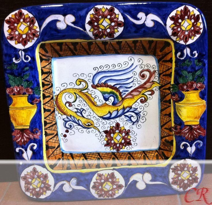Vassoio bordo blu | Ceramiche Rinascita