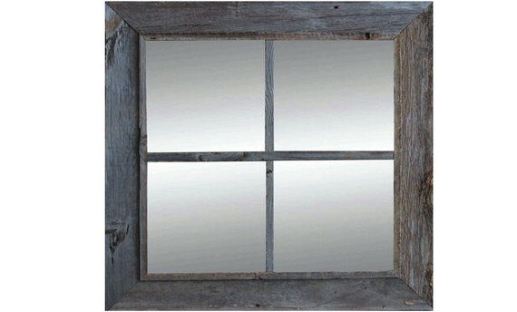 Rustic Mirror Window Pane Barnwood Mirror 4 Panes Rustic Mirrors Window Mirror Barn Wood