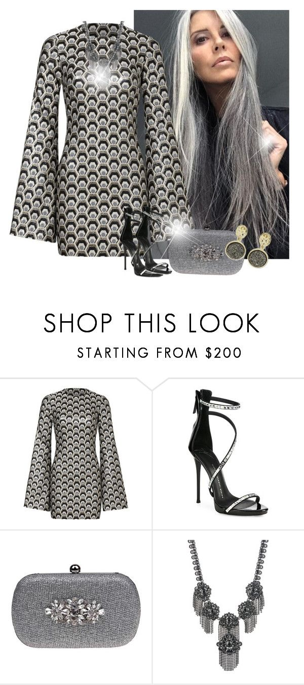 """Grey Dress"" by mozzy18 ❤ liked on Polyvore featuring Rubin Singer, Giuseppe Zanotti, Badgley Mischka, Marchesa and NOVICA"
