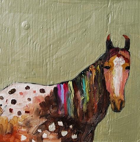 Eli Halpin Oil Paintings - Tiny Appaloosa Horse in Metallic Celery Green