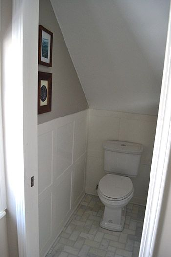 Under stairway bathroom.  Great solution if you need a seconds bathroom and don't have the room...
