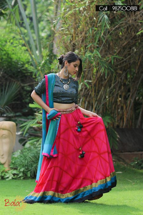 Navy Blue and Pink printed Elbow Sleeve Navratri Special Lehegha #EthnicStyle