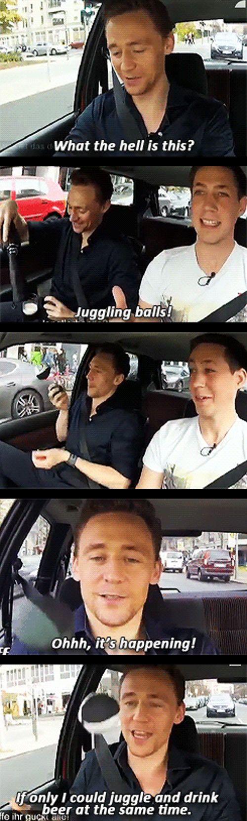 Tom Hiddleston juggling in Berlin…