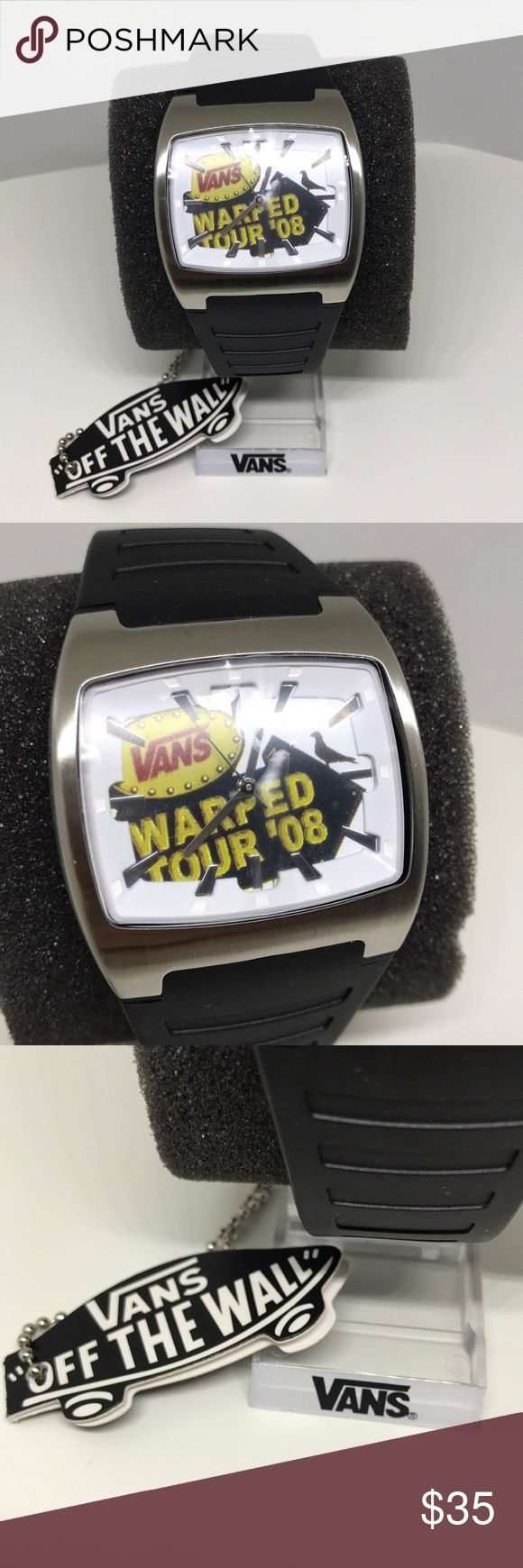 Vintage Vans Warped Tour '08 Watch Vintage Vans Warped Tour '08 Watch, With protective Sleeve still over the top and bottom of Watch, Battery is not working, Brand New, Never Worn or Used, WILL SHIP IN ONE DAYAll bundles of 2 or more receive 20% off. Closet full of new, used and vintage Vans, Skate and surf companies, jewelry, phone cases, shoes and more. Vans Accessories Watches