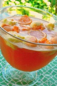 Sherbet punch (Pineapple Orange Crush and Simple Sherbert)  Lots of Punch recipes. Pineapple-Orange Crush (6 servings)  2 to 3 cups unsweetened pineapple juice2 cups orange juice1/2 cup lemon juice1 pint of sherbert (any flavor)Fresh mint sprigsMix juices and pour into punch bowl. Scoop sherbert into punch bowl and garnish with mint.