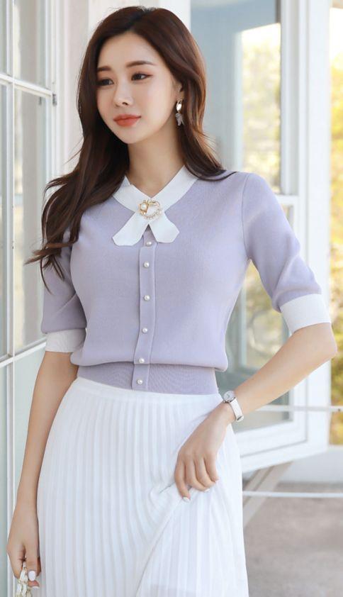 9f024fc8360 StyleOnme Brooch Set Short Sleeve Knit Tee  brooch  knit  tee  feminine   koreanfashion  kstyle  kfashion  springtrend  dailylook