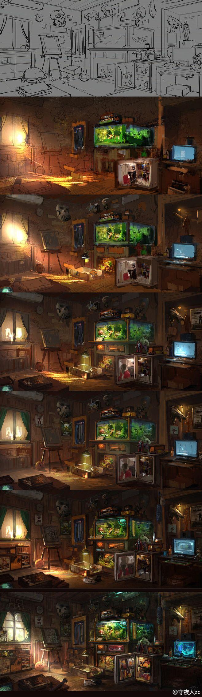 守夜人zc的照片 - 微相册 Room Interior - Digital Painting Step-by-Step Workshop