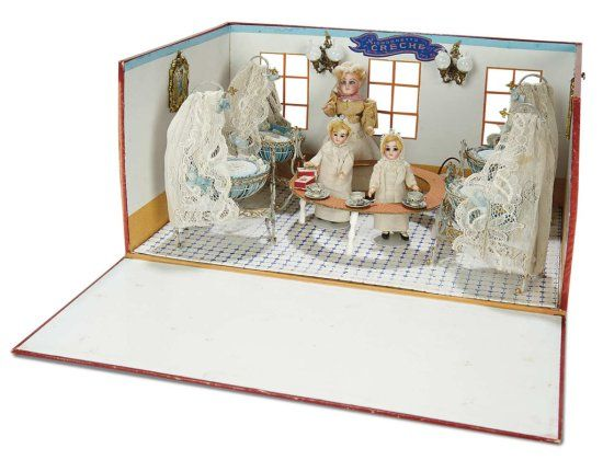 "Wonderful All-Original French ""Mignonette Creche"" with Original Box Room 3500/4500 