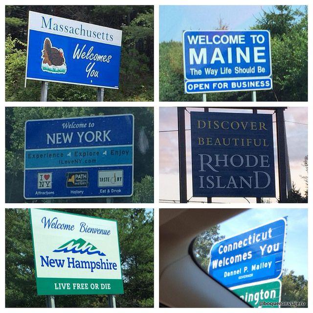 Los estados visitados en nuestro viaje por Nueva Inglaterra