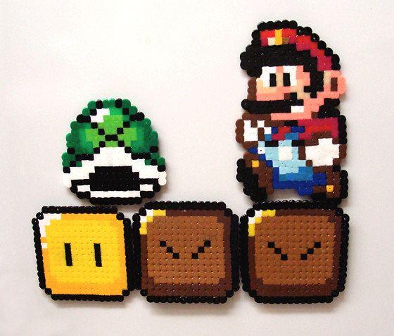 Perler Bead Magnet Sprites - Basic Super Mario Set of 5. $16.00, via Etsy.