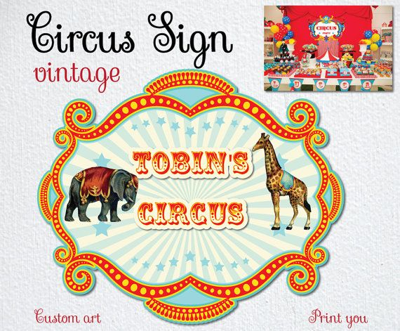 CIRCUS CLASSIC illustration Vintage Sign Backdrop by BolleBluParty