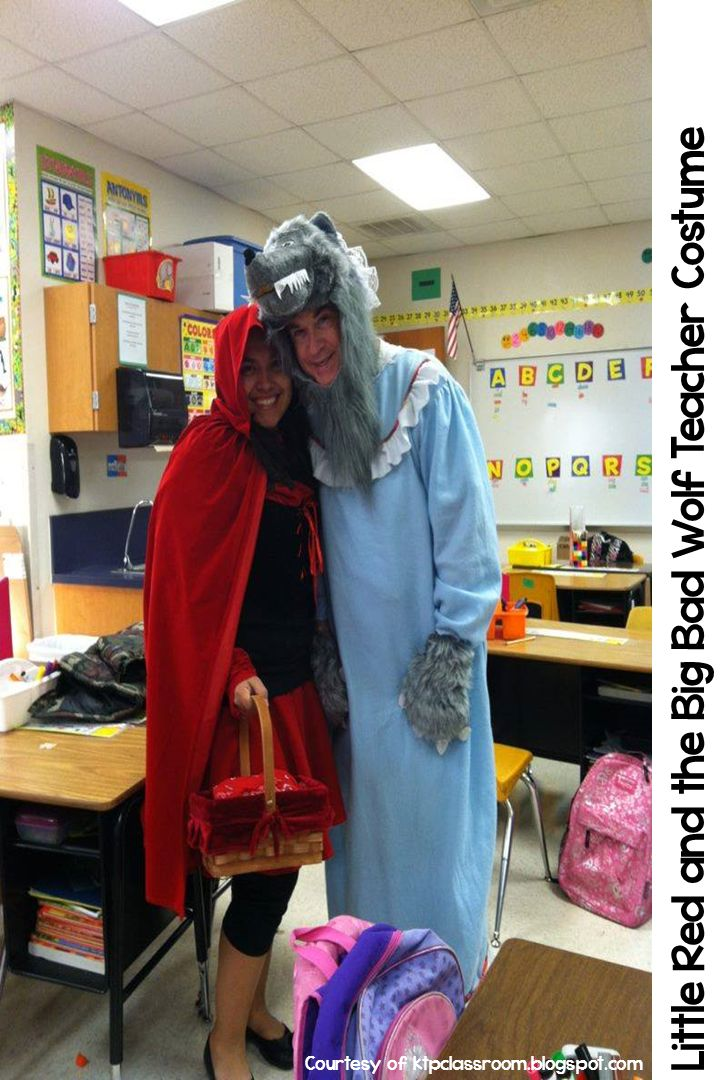 Little Red Riding Hood and Big Bad Wolf Halloween costumes for teachers. Easy to make and easy to put on for the after lunch parade. More at teachinginroom6.blogspot.com