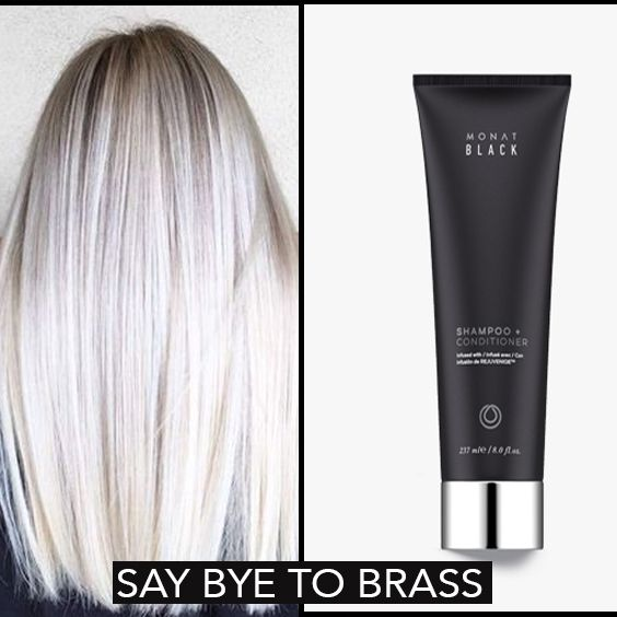 #silverhair #monat #blondehair #purpleshampoo #whitehair #naturalshampoo #hairproducts SAY BYE TO BRASSY BLONDES. This monat product works like a purple shampoo. Monat Black A complete 2-in-1 system that cleanses and conditions while maintaining essential moisture balance for youthful, healthy hair. Penetrates and nurtures the scalp while helping boost natural hair growth and improving follicle strength to reduce hair thinning.