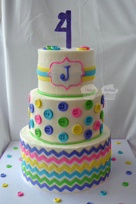 I did this cake for a little girl who was having a Lalaloopsy birthday party. I love the colors and buttons (all 70 of them!) Design inspired by Love & Sugar Kisses' chevron cake. I used Jessica Harris' (Jessicakes) tutorial for applying the...