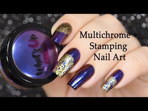 Beleza e Fantasia: Royalty Powder for Multichrome Nails + Stamping Na...