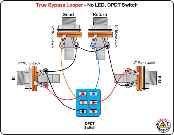 true bypass looper wiring diagram no led dpdt switch diy pedals musica