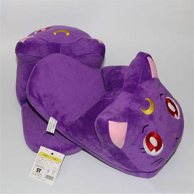 Sailor Moon Luna Slippers Cartoon Plush Shoes Soft Stuffed Indoor Casual 20th