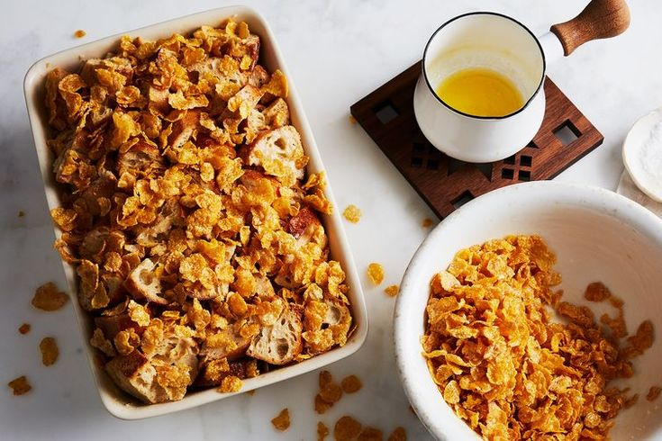 Chrissy Teigen's French Toast Casserole with Salted Frosted Flakes recipe on Food52