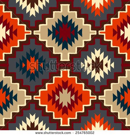 Vector seamless ethnic pattern with american indian motifs in multiple colors. Colorful aztec background.