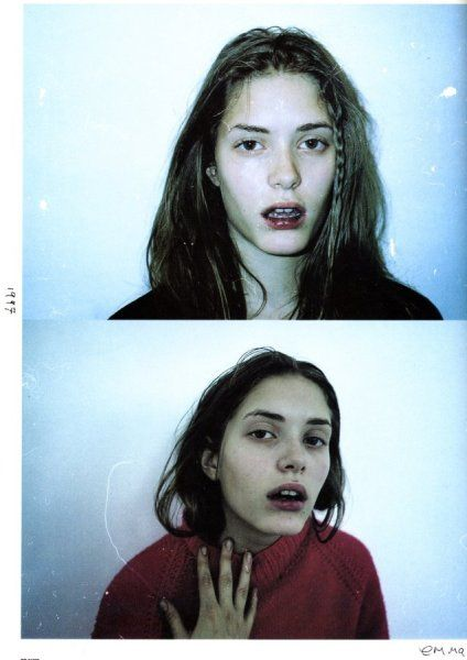 Corinne Day —  Dazed (1997) Use off opposite colours which contrast, I also like the makeup because it defines key features.