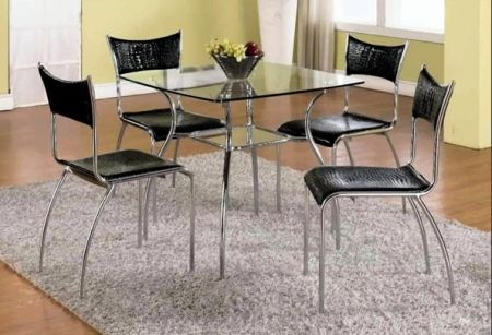 Image of DAISY-DT Square Glass Dining Table Top With Modern Style Metal Dining Table
