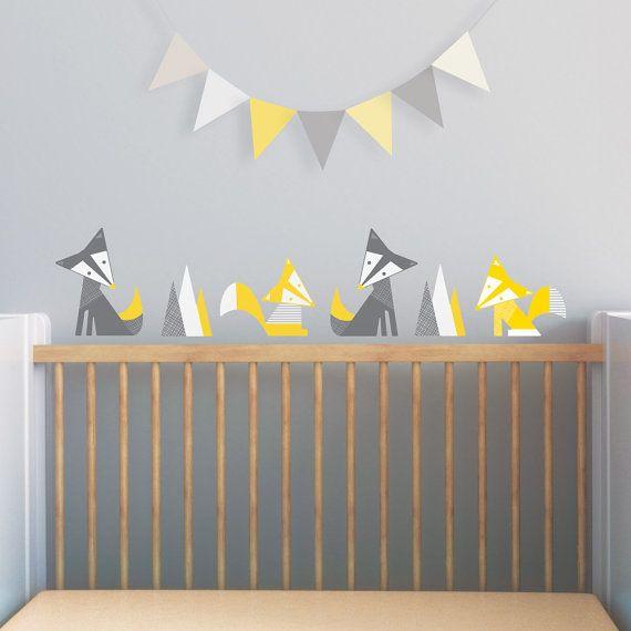Yellow Nursery Fox Wall Decal Nursery Wall Decal by trendypeas, $39.00